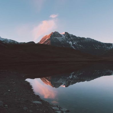 a scenic lake in the mountains