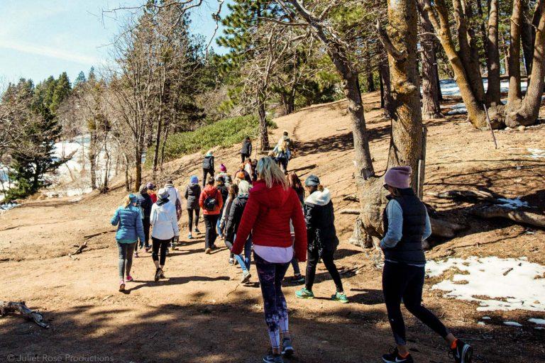 a group hiking along a trail