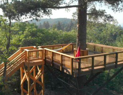 hammocks set up on a balcony