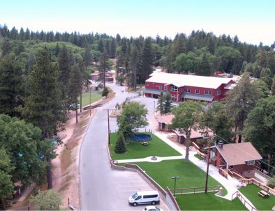 an aerial view of Huckleberry Hall