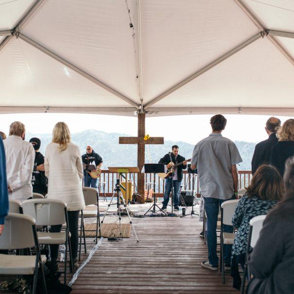 a church retreat on a mountain deck